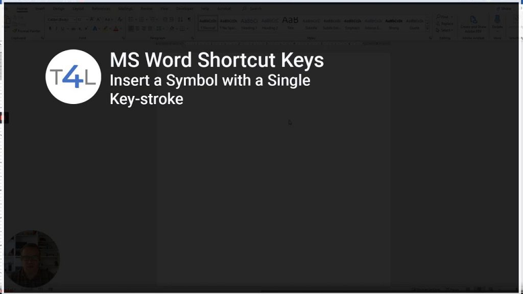 Video on using Hotkeys in MS Word